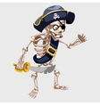 Skeleton pirate with belt and sharp sword vector image vector image