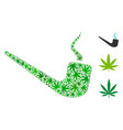 smoking pipe mosaic of weed leaves