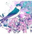 Spring cherry background with birds vector image