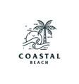 vintage coastal beach logo design vector image vector image
