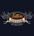 vintage tattoo salon colorful emblem vector image vector image