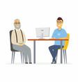 volunteer help senior man - cartoon people vector image vector image
