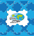 world autism awareness day design vector image