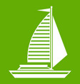 yacht with sails icon green vector image vector image