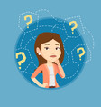 young business woman thinking vector image vector image