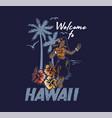 young cute smile hawaiian hula girl vector image