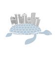 Metropolis on shell water turtles City skyscrapers vector image