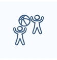 Children playing with inflatable ball sketch icon vector image