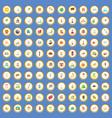 100 world tour icons set cartoon vector image vector image