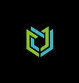 abstract shield technology construction logo vector image vector image