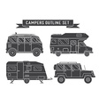 Auto Travel Cars and Campers Outline Icons vector image vector image