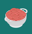 bowls and minced meat isolated isometry vector image vector image