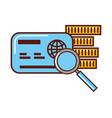 business money cerdit card bank magnifying glass vector image vector image