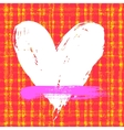 card with hand drawn heart on plaid background vector image vector image