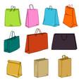 cartoon set color shopping bags vector image vector image
