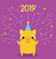 cartoon yellow pig symbol of 2019 year party with vector image vector image