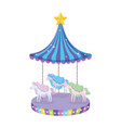 circus carousel scene icon vector image vector image