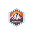 climbing extreme sport - concept badge design vector image vector image