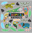 collection of stickers with tropical animals with vector image vector image