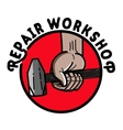 Color vintage repair workshop emblem vector image