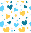 cute seamless pattern with yellow and blue hearts vector image vector image