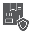 delivery protection glyph icon cargo and service vector image vector image