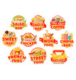 fast food restaurant labels burgers and drinks vector image vector image