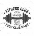 fitness club badge stop wishing start doing vector image