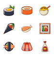 fresh sushi icons set cartoon style vector image vector image