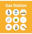 Gas station icons in circle set vector image