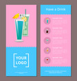 have drink poster with place for logo mojito mint vector image vector image