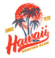 hawaii surfing club poster template with vector image vector image