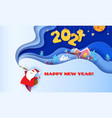 horizontal banner happy new year 2021 santa claus vector image vector image