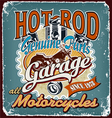 hotrod motorcycles garage crack vector image vector image