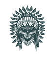 indian skull monochrome hand drawn tattoo style vector image