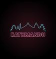 kathmandu skyline neon style in editable file vector image vector image