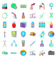 microscope icons set cartoon style vector image vector image