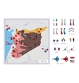 Military tactical map with icons The Syria vector image