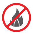 no fire glyph icon prohibited and warning no vector image vector image