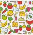 organic food seamless pattern with thin line icons vector image
