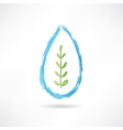 plant in a water drop icon vector image vector image