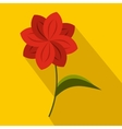 Red flower icon in flat style vector image vector image
