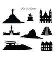 rio de janeiro city signs landmarks set cityscape vector image