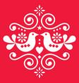 scandinavian floral folk art design vector image vector image