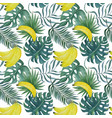 seamless pattern with bananas and tropical leaves vector image vector image