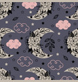 seamless pattern with floral moon vector image vector image
