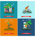 set of bicycle types concept posters vector image vector image