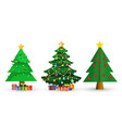 set of cute cartoon christmas fir trees on white vector image