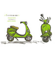 set of hand-drawn green scooters ink brush sketch vector image vector image
