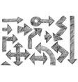 set of sketchy hatched arrows doodles vector image vector image